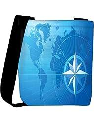 Snoogg Blue Compass Vector Background Womens Carry Around Cross Body Tote Handbag Sling Bags