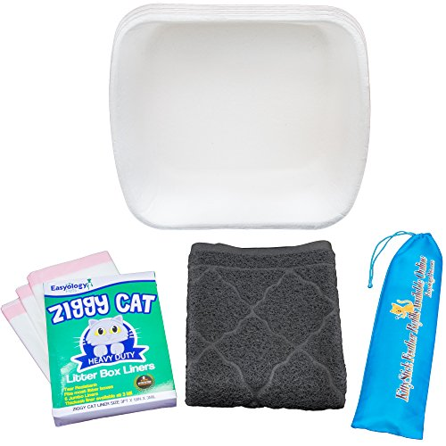 Cat Adoption Starter Pack With Slate Gray Litter Mat - KittyStick Cat Toy - Litter Box and Liners (Advantage Multi For Kittens compare prices)