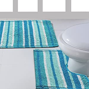 Ritz teal luxury 2 piece stripey soft cotton pedestal bath for Teal bath sets