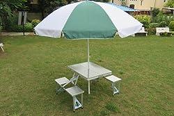 Amaze Folding Aluminium Picnic Garden Outdoor Farm House Restaurant Ice Cream Parlor Food Parlor Cafeteria Table With 8' Umbrella