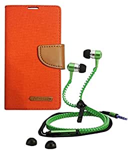 Aart Fancy Wallet Dairy Jeans Flip Case Cover for Asuszen-5 (Orange) + Zipper Earphones/Hands free With Mic *Stylish Design* for all Mobiles- computers & laptops By Aart Store.