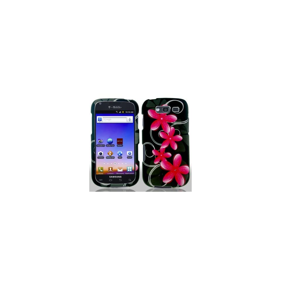 Samsung Galaxy Blaze 4G 4 G T769 T 769 Black with Pink Floral Flowers Black Swirl Vines Design Snap On Hard Protective Cover Case Cell Phone