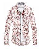 メンズ mens 細身 花 柄 シャツ 七分 丈 袖 爽やか でシルエット が美しい (白M)