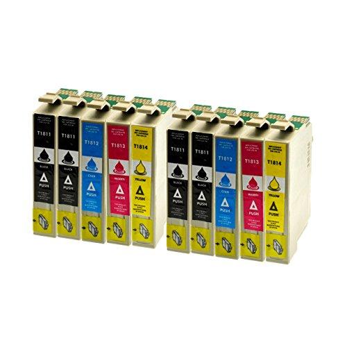 10 Premium Druckerpatronen kompatibel für Epson T1811, T1812, T1813, T1814 für Expression Home XP-102 XP-202 XP-205 XP-30 XP-302 XP-305 XP-402 XP-405