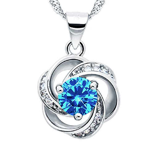 """Shall I Compare Thee to A Summer's Day"" [Azure] Sterling Silver Flower Pendant Necklace"