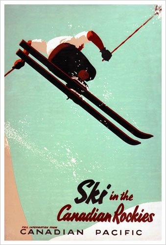 Ski in the Canadian Rockies (Canadian Pacific) Vintage Art Poster Print
