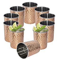 DakshCraft Hammered Copper Tumblers, Set of 10