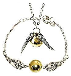 Sorella'z Silver Harry Potter Golden Snitch With Wings Necklace & Bracelet Set