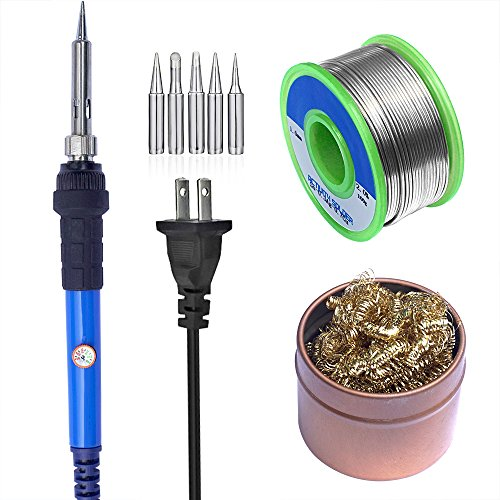 Cheapest Price! Sywon 60W 110V Electric Soldering Iron Kit with Tips Cleaner, 1.0mm 100g Solder Wire...