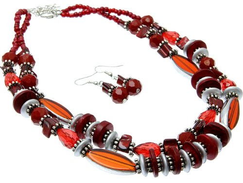 NECKLACE AND EARRING SET BEAD GLASS BEAD RED Fashion Jewelry Costume Jewelry fashion accessory Beautiful Charms