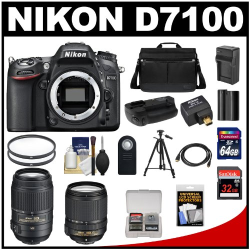 Best Nikon D7100 Digital SLR Camera with 18-140mm & 55-300mm VR Lenses, WU-1a, Bag + 32GB & 64GB Card + Battery/Charger + Grip + Filters + Remote + Tripod + Kit site