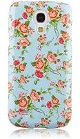 JAMMYLIZARD | Coque de protection vintage pour Samsung Galaxy S4, Roses sur fond bleu