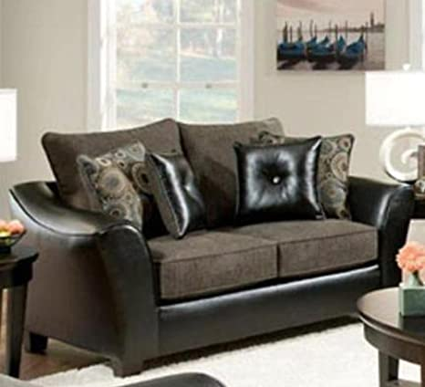 Chelsea Home Furniture Union Loveseat, Pinnacle/PU Gray/Miraculous Charcoal/PU Pillows(4)