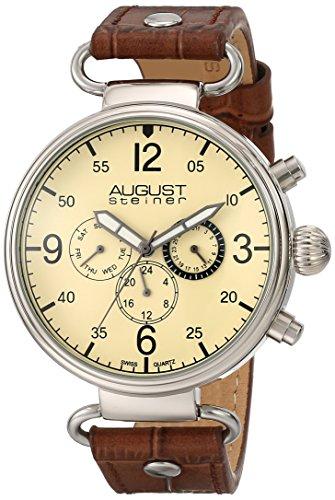 August Steiner Men's Analog Display Swiss Quartz Brown Watch