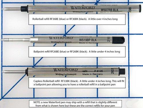 Waterford recharges sans capuchon pour stylo roller Noir