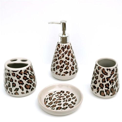 4 Piece Bathroom Ceramic Accessory Set: Lotion/Liquid Soap Dispenser, Tumbler, Toothbrush Holder, Soap Dish: LEOPARD