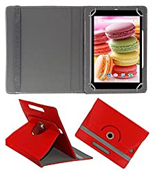 Acm Rotating 360° Leather Flip Case For Lava Ivory M4 Cover Stand Red