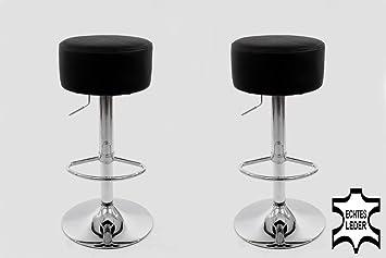 2x sgabello da bar nero VERO CUOIO ruotabile regolabile in altezza imbottito
