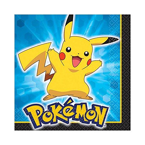 "Amscan Electrifyingly Cute Pikachu & Friends Party (16 Piece), Blue/Yellow/Black, 5 x 5"""