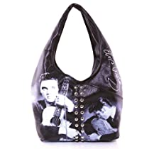 Officially Licensed Elvis with Guitar Leatherette Shoulder Hobo Bag Embellished with Quality Studs
