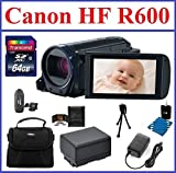 Canon VIXIA HF R600 Full HD Camcorder (Black) Bundle, includes: 64GB SDXC Memory Card, Card Reader, 2-Hour Spare Battery, Pocket Tripod, CA-110 Compact Power Adapter, Small Camcorder Bag, Lens Cleaning Kit, Memory Card Wallet