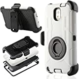 ULAK Hybrid Shockproof Heavy Duty Full Body Protect Rugged Rubber Case Holster Cover for Samsung Galaxy Note 3 N9000 with Built-in Rotating Kickstand and Belt Swivel Clip (Black + White)