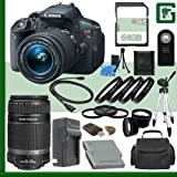 Canon EOS Rebel T5i Digital SLR Camera Kit with 18-55mm STM Lens and Canon 55-250mm STM Lens + 64GB Green's Camera Package 2