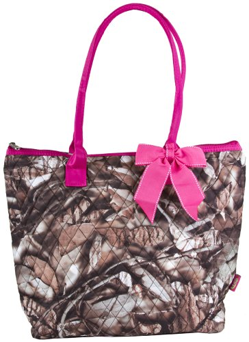 Quilted Tree Camouflage Print With Pink Trim Tote Bag With Coin Purse front-38427