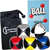 Juggling Balls set of 5 PU Pro + Juggling Ball Book of Tricks & DrawString Travel Bag!by Flames 'N Games