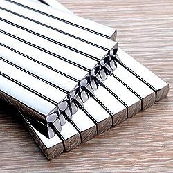 High Quality Metal Chopsticks Luxury Square Stainless Steel Chopsticks Household Hotel Restaurant Chopsticks (5pair)