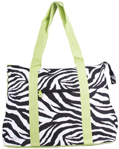 Ever Moda Zebra Print Extra Large Tote Bag with Coin Purse, Black and White with Green Trim