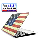 LEIMI ® AIR 13-inch Rubberized Hard Matte Case Cover for Apple MacBook Air 13.3 (Models: A1369 and A1466) (New- Flag of the US)