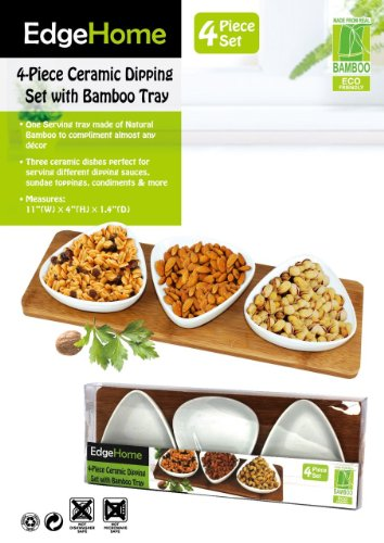 Edgehome Four Piece Triangle Ceramic Dipping Set With Bamboo Tray