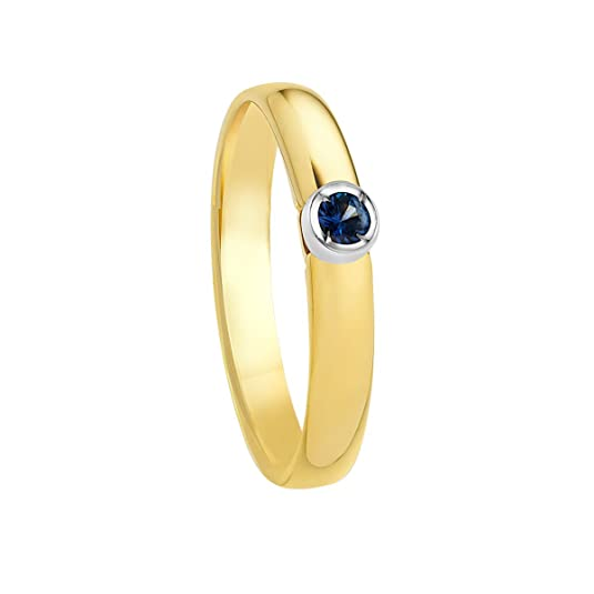 Bella Donna Women's Ring 333 Yellow Gold Rhodium Plated Sapphire Round Cut 121372 Size 54 (17.2)