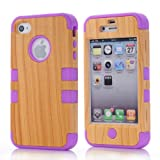 Super Spiderman Fashion Vivid Wooden Print New Dual Layer Protection ( PC + Silicone ) Hybrid Back Case Cover for Apple iPhone 4 4s 4g with Apple Logo Cutout ( Inner Purple )