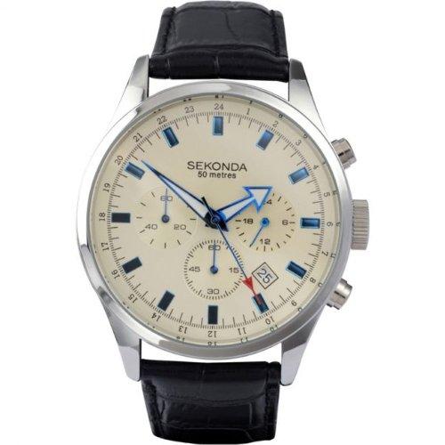 Sekonda Mens Sports Chronograph Cream Dial Black Leather Strap Watch 3144
