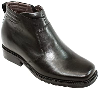 CALTO - G9901 - 3.3 Inches Taller - Size 6 D US - Height Increasing Elevator Shoes (Black Leather Square-toe Zipper Boots)