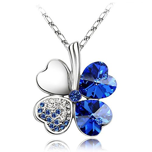 Fashion-Jewelry-Four-Leaf-Clover-Heart-shaped-Simulated-Crystal-Pendant-Necklace-of-Lucky-Necklace