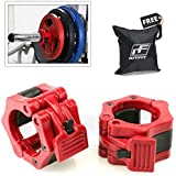 """Ritfit Pair of 2"""" Inch Pro ABS Locking Olympic Workout Professional Quality Barbell with Quick Release Red Secure Snap Latch For 2-Inch Diameter Size Olympic Bars Set Of 2 Clamps (Free Carry Case Included !!!)"""
