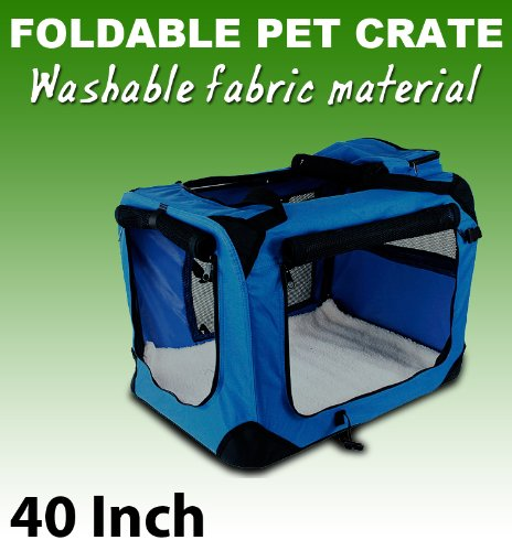 New Xl Dog Pet Puppy Portable Foldable Soft Crate Playpen Kennel House - Blue front-978184