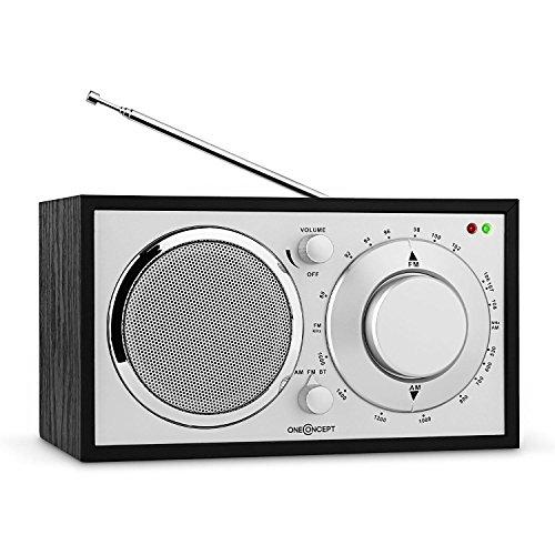 oneConcept Lausanne Nostalgie-Radio Retro Küchenradio Tragbares Radio (Bluetooth, UKW/MW-Sendertuner, Breitbandlautsprecher, AUX-Eingang, hochwertige Verarbeitung, Edles Holzfurnier) schwarz