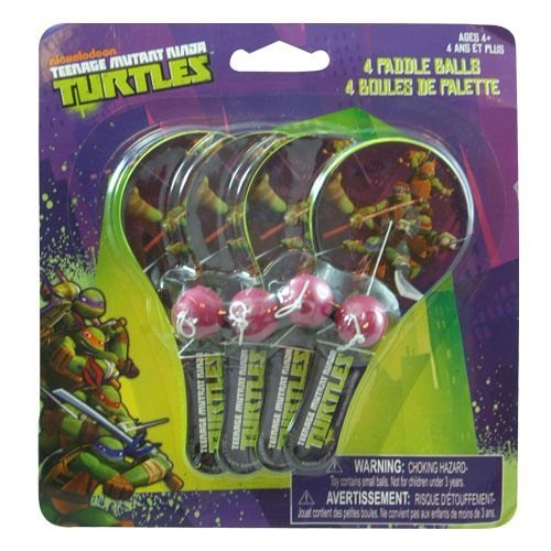 Teenage Mutant Ninja Turtles 4pk Mini Paddle Balls - 1