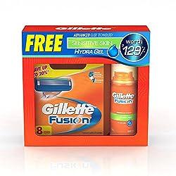 Gillette Fusion Manual Blade - 8 Cartridges + Free Gillette Hydra Gel