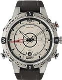 Timex® Men's T2N721 Intelligent Quartz Compass Tide Temperature Silver Case Brown Strap Watch