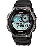 Casio #AE1000W-1BV Men's LCD Digital World Time Sports Watch