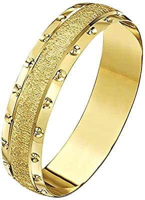 Theia 9ct Gold Heavy Weight Crystallised Centre and Circle Design Edge DShape Wedding Ring for Men or Women