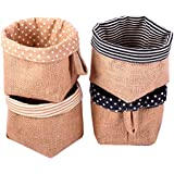 Sea Team Ramie Cotton Fabric Creative Patterns Storage Bags, Set of 4