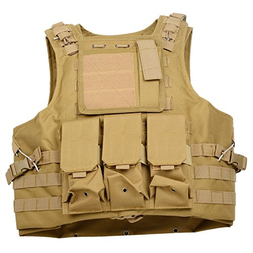 WMX® MOLLE Nylon Military Tactical Combat Vest With 3 Removable Pouches (Tan) (Plate Carrier Removable Belt compare prices)