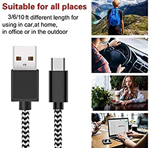 USB C Cable Fast Charging 3A 5-Pack (3.3/3.3/6.6/6.6/10FT) Nylon Braided USB Type C Cable Fast Charging Cord for Samsung Galaxy S10 S9 S8 Plus Note 10 9 8,Moto Z Z3,LG V50 G8 and More USB C Devices