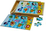 Wooden Magnetic Fishing Game with Jigsaw Puzzles Sea Life in Wooden Box with Lid